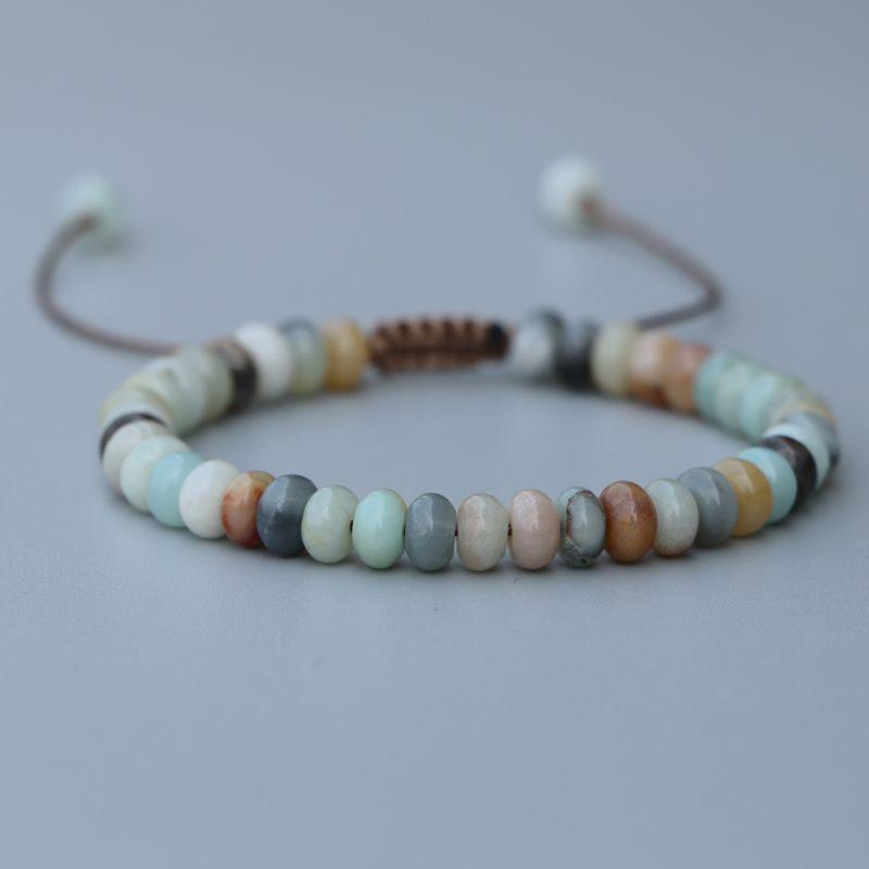 EDOTHALIA belle 4*6mm boulier perles Amazonite pierre perle Bracelet pour femmes filles chanceux amitié Bracelet bijoux