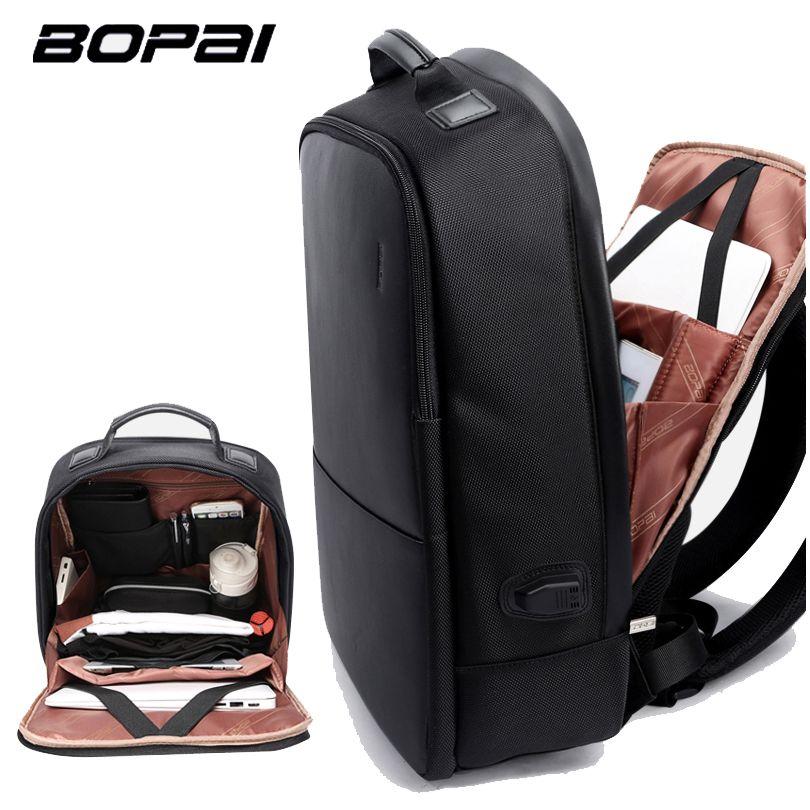 BOPAI Brand Men Laptop Backpack USB External <font><b>Charge</b></font> Computer Shoulders Anti-theft Backpack 15 inch Waterproof Laptop Backpack