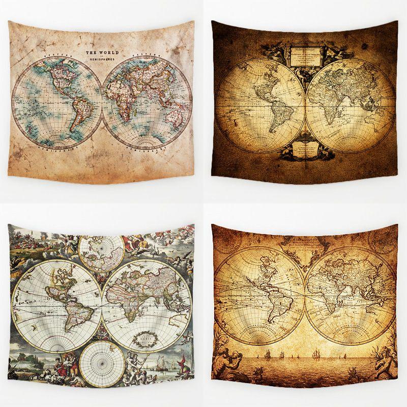 Comwarm Vintage Moyen Âge Carte Du Monde Série Motif Tenture Renaissance Imprimé Murale Gobelin Chaud Chambre Décor Art T113