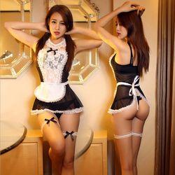 Trajes de uniforme de mucama rol 2016 mujeres sexy Lencería caliente sexy Ropa interior femenina encantadora blanco Encaje traje erótico 25