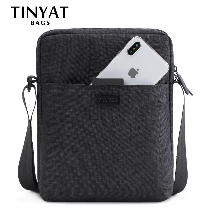 TINYAT sac à bandoulière pour hommes en toile légère pour 7.9 'Ipad sac à bandoulière décontracté sac à bandoulière étanche pour hommes 0.13kg
