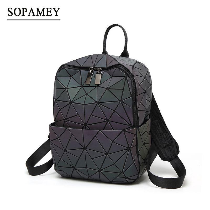 New Women Backpack Geometric Shoulder Bag Student's School Bag For Teenage Hologram Luminous Backpacks Laser bao bab backpack