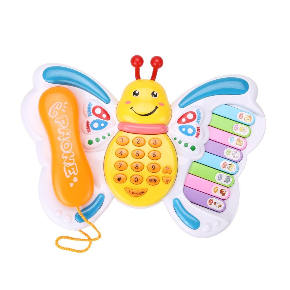 Juguetes para bebés mariposa teléfono móvil máquina de aprendizaje educativa Pianos teclado Music Electric Toy teléfono de juguete para niños