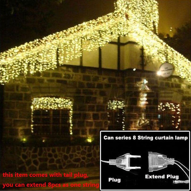 Lumières de noël En Plein Air lumière de corde 4.5 m 110 v 220 v 100 led Rideau Décoratif Nouvelle Année Partie Désherbage Vacances LED Lampe Lumière