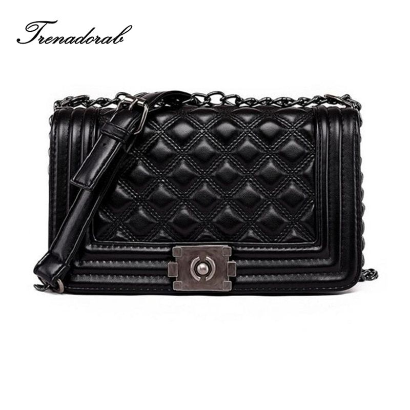 Trenadorab Vintage Women Bags Diamond Lattice Women Handbags Leather Clutch Ladies Chain Brand Women Shoulder Bags Sac A Main
