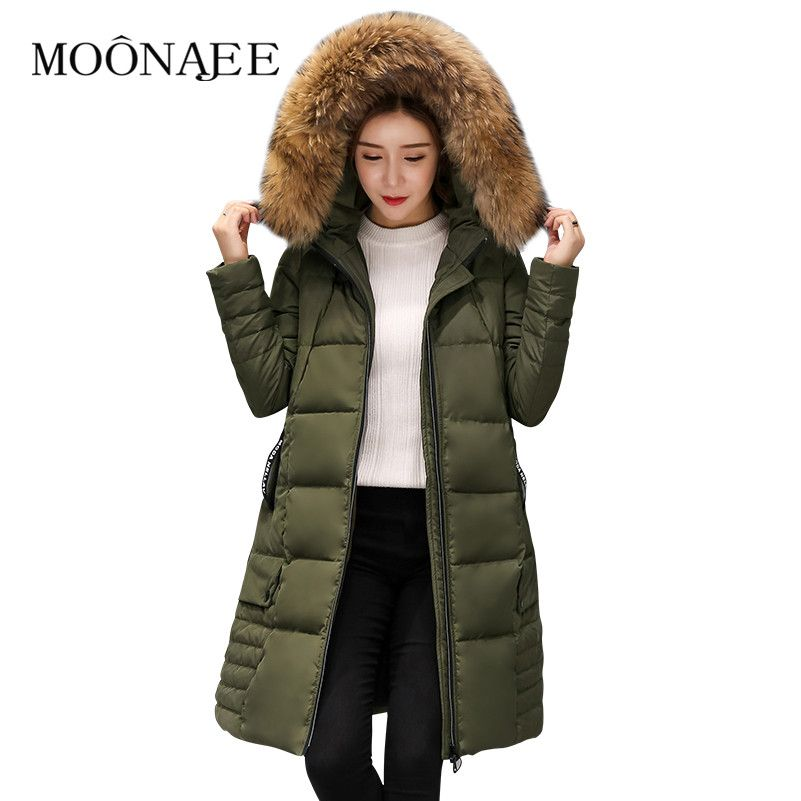 2017 New Winter Natural Raccoon Fur Thicken Down Coats Fashion Long Parkas Women Down Jackets Snow Outerwears Female Overcoats