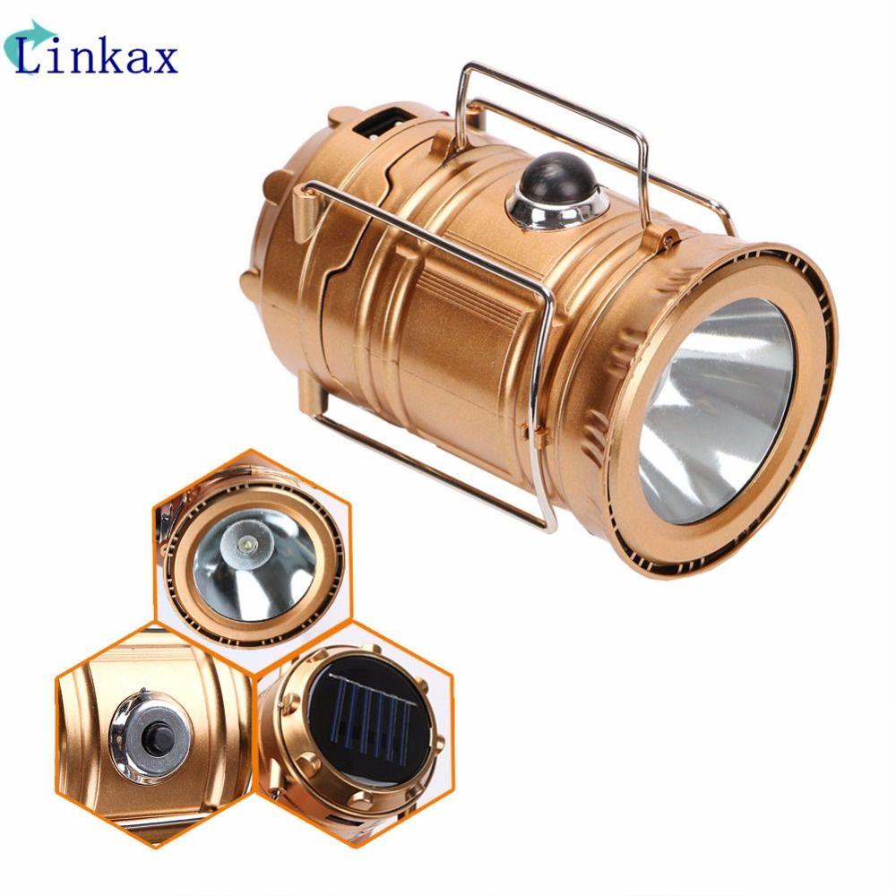 Lanterne solaire Portable Camping lumière Rechargeable intégré batterie au Lithium lampe à main en plein air Camping lanterne tente lumières