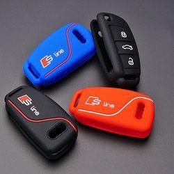 Silicone clé de voiture fob cas de couverture de peau autocollant pour Audi S Ligne A1 A2 A3 TT R8 Q3 S6 S7 SQ5 RS5 flip à distance porte-clés accessoires