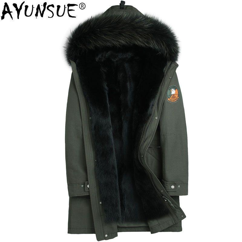 AYUNSUE Parka Echtpelz Winter Jacke Männer Real Nerz Liner Lange Mantel Waschbären Pelz Kragen Parkas Plus Größe 5xl chaquetas MY1194