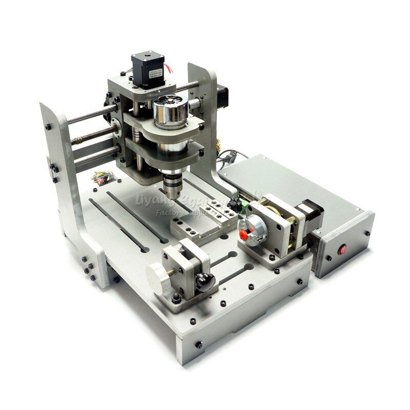 4 Axis 300W Spindle Mach3 Control CNC Router Engraver CNC mini PCB Milling Machine