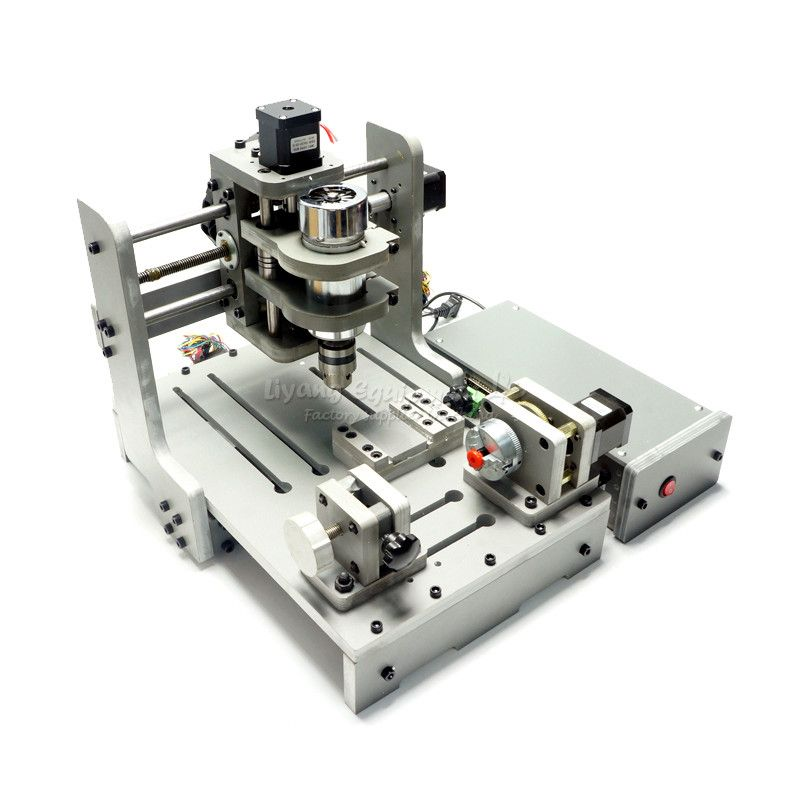 4 Axis 300W Spindle Mach3 Control CNC Router Engraver CNC USB port mini PCB Milling Machine
