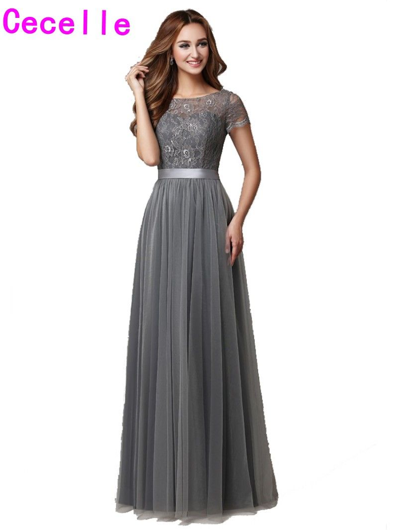 2018 Grey Long Modest Bridesmaid Dresses With Cap Sleeves Lace Tulle A-line Floor Length Country Wedding Party Dress