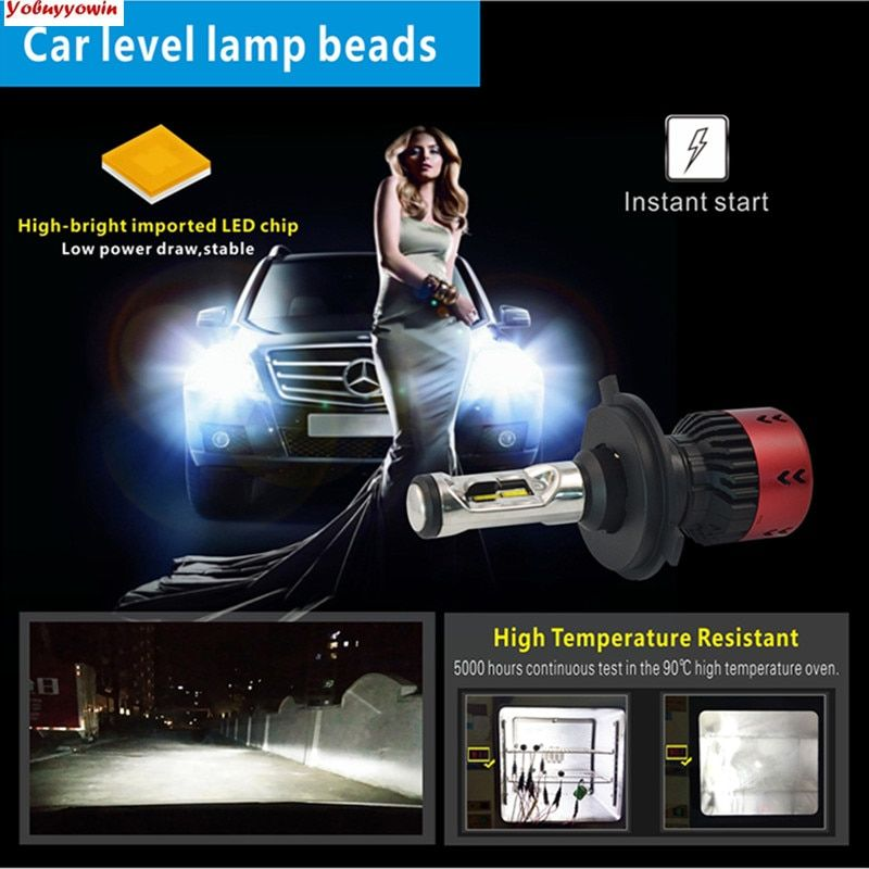 New 55W V6 H4 H7 H8 H11 H15 5202 9005 9006 9012 D2S PSX24W PSX26W LED Car Headlight Bulbs Conversion Kit W/Auto Level Lamp Beads