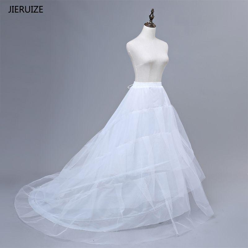 JIERUIZE Free shipping High Quality White Petticoat Train Crinoline Underskirt 3-Layers For <font><b>Wedding</b></font> Dresses Bridal Gowns