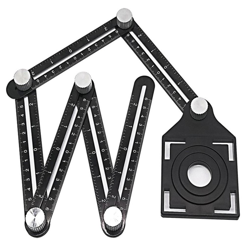 Aluminum Alloy Six-Fold Ruler Tile Opening Locator Mud Tile Shop Paste Floor Tile Glass Vientiane Universal Hole Punch
