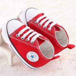 Mode Étoiles Toile Bébé Chaussures Enfant Garçon Chaussures Dentelle-Up Infantile Nouveau-Né Berceau Chaussures Première Walker No-Slip doux À Semelles