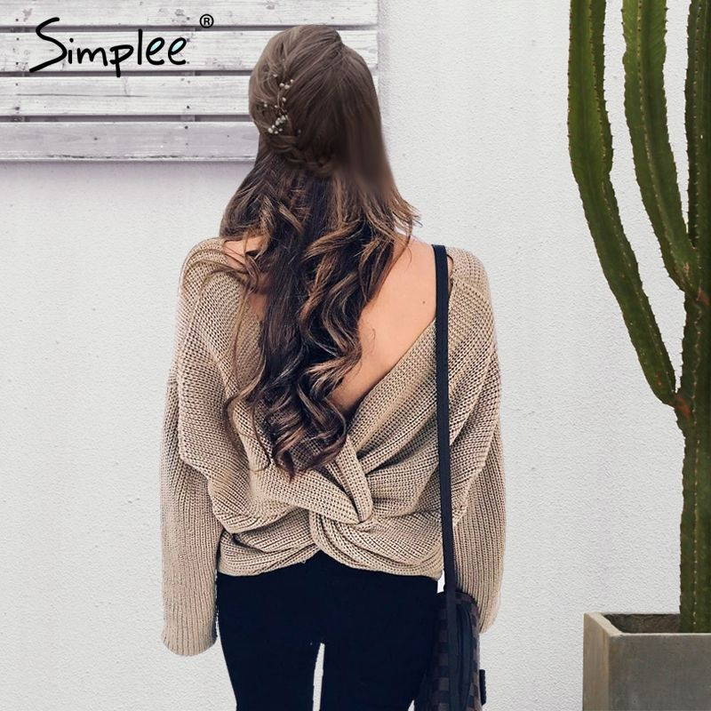 Simplee V neck sweater women loose long sleeve pull 2017 Fashion back bow soft pullovers thin sweaters jumper