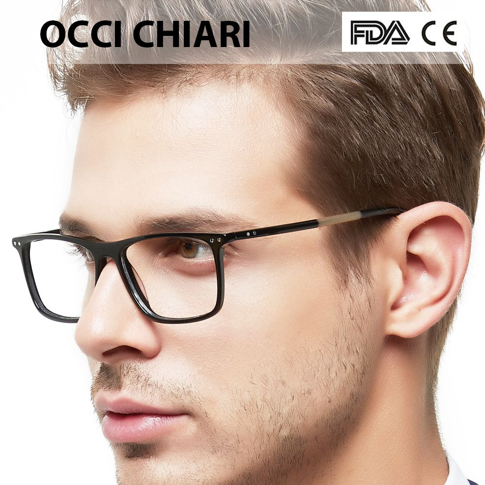 OCCI CHIARI Glasses <font><b>Frame</b></font> Eyeglasses <font><b>Frames</b></font> Men Gafas Acetate Male Fashionable Spectacle <font><b>Frames</b></font> Optical Glasses Black W-COSCO