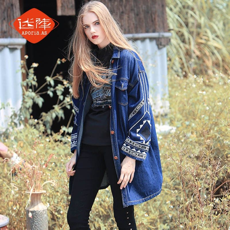 Aporia.As AutumnWinter Personality Novelty Women Cool Fashion SingleBreasted Indian Totem Embroidery Casual Loose Denim Jackets