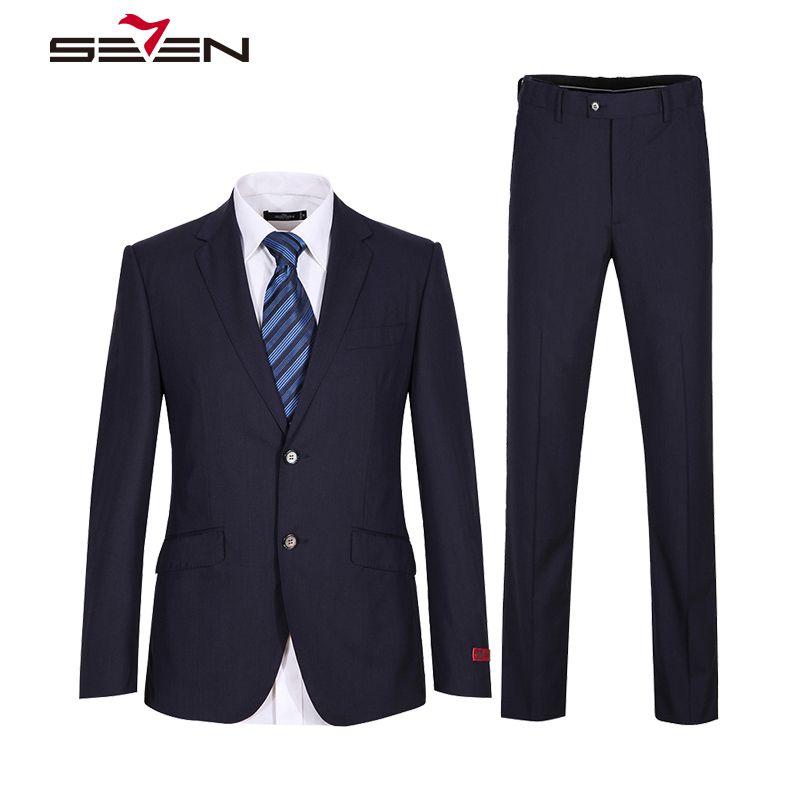 Seven7 2018 Brand Navy Blue Suit Men Wedding Groom Mens Suits Slim Fit Formal Wear Business Male Jacket Pants 2 Pieces 608C16050