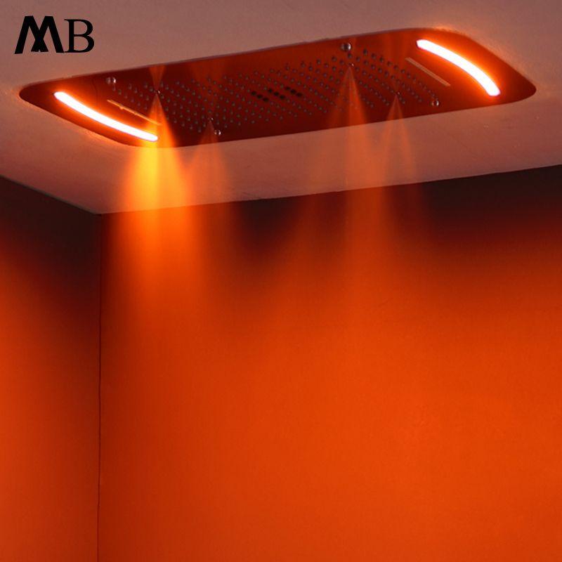 Embedded Decke Montiert Große Bad Dusche Kopf Touch Screen LED Licht Regen Duschkopf Wasserfall, Nebligen, Blase Duschen