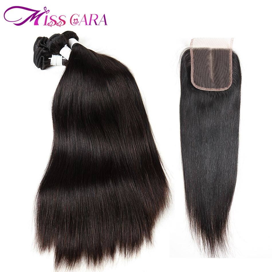 Brazilian Straight Hair With Closure 100% Human Hair Bundles With Middle/Free Part Closure Miss Cara Remy 3 Bundles With Closure