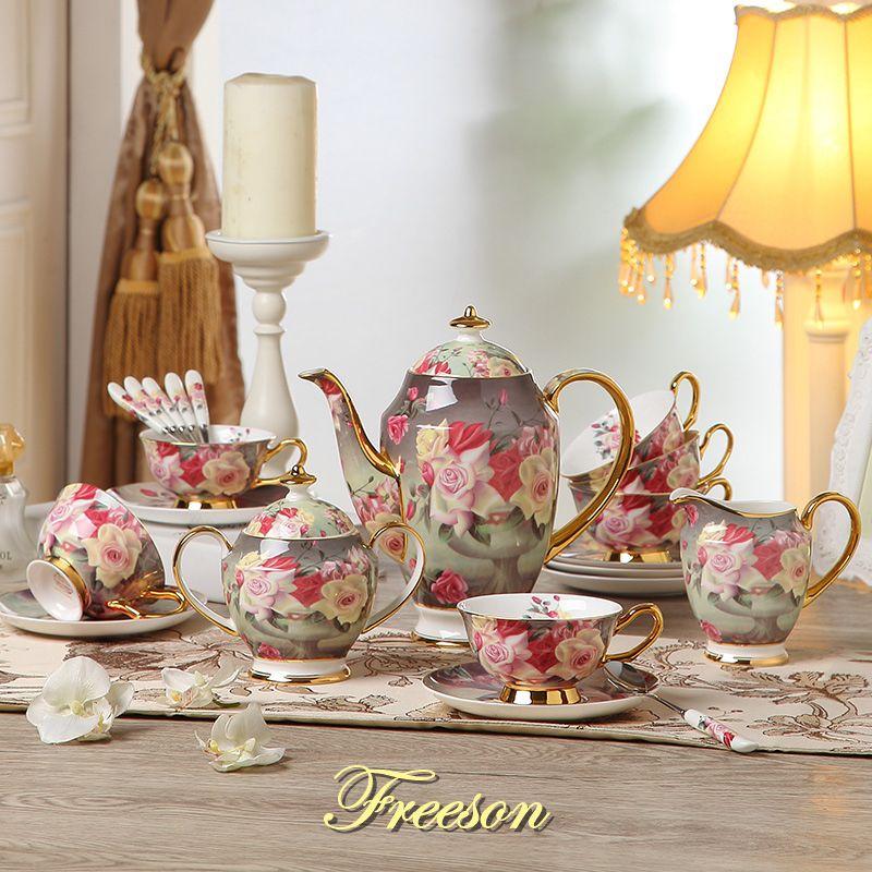 Europe Vintage Rose os chine café ensemble britannique porcelaine thé ensemble en céramique Pot crémier sucrier Teatime théière tasse à café tasse