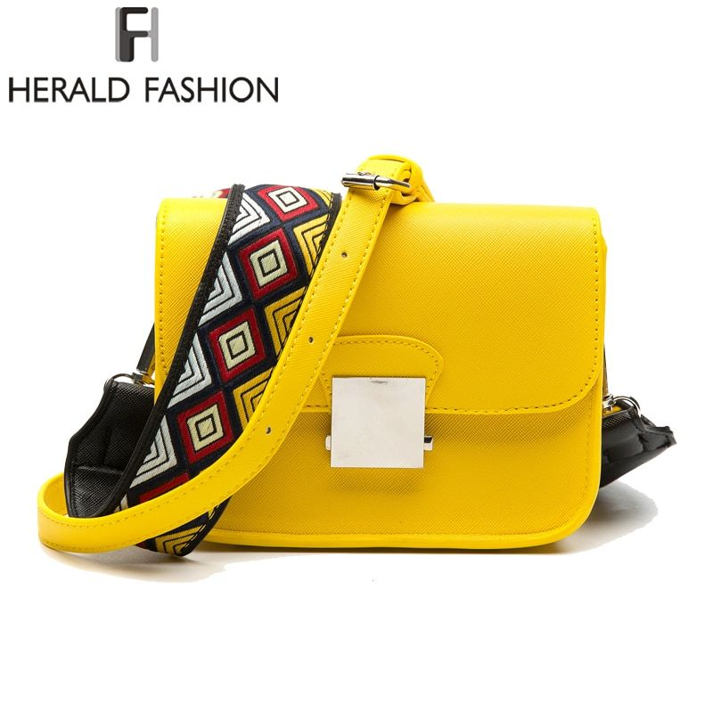 Herald Fashion Brand Messenger Bags Women Flap PU Leather Shoulder Bags With Two Strap High Quality Hot Sale Crossbody Bags