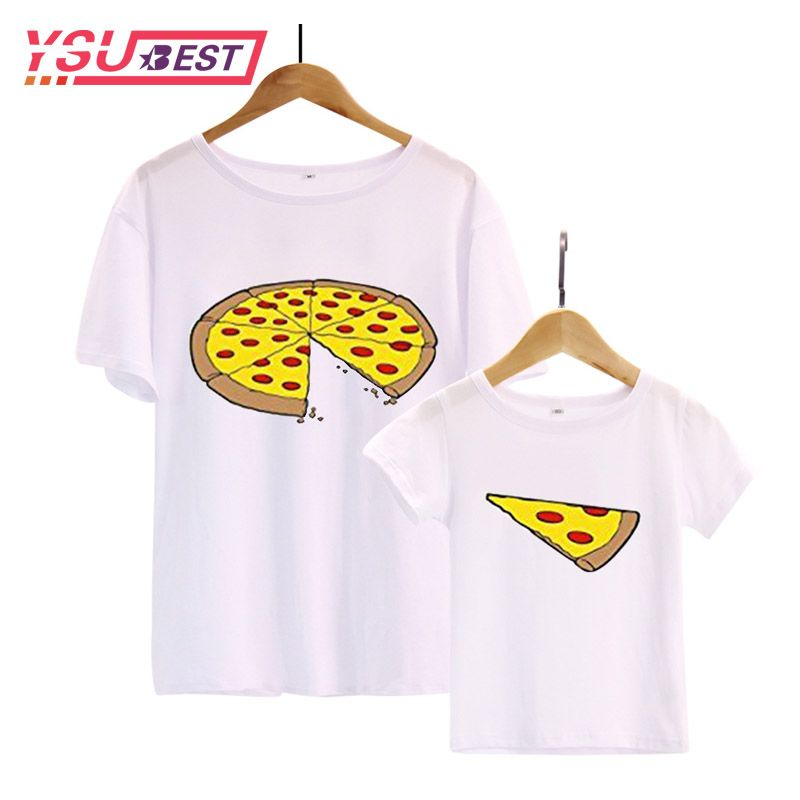 New Family Matching Clothes Dad Daughter Clothes T Shirt Fashion Pizza Short-sleeve Familia Father Son Baby T-shirt Family Look