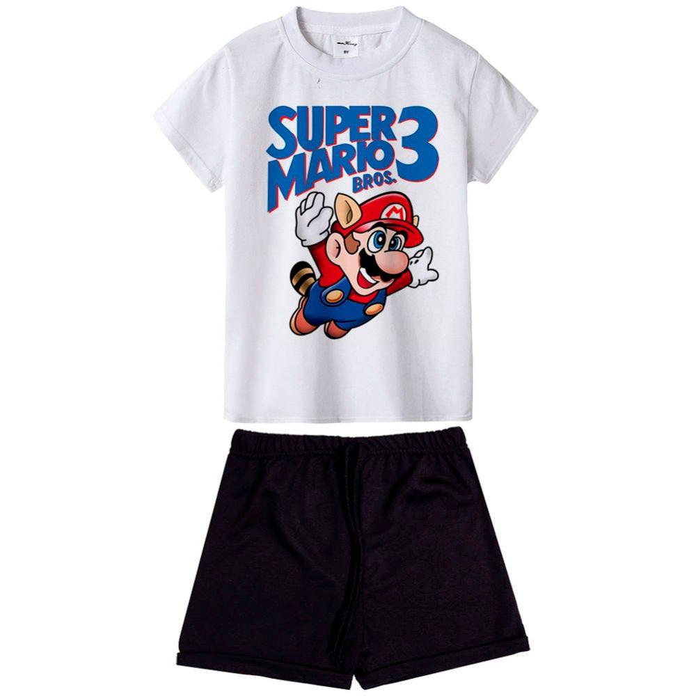 cool pattern super mario bros boys clothes short sleeve T-shirt+shorts 2-piece set O-neck boys clothing set summer children suit