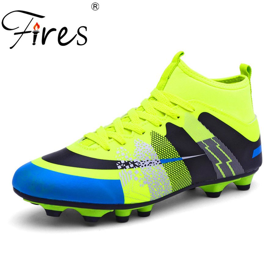Fires Long Spikes Soccer Shoes/Boots For Men Outdoor Sports Football Shoes/Boot 2017 Men High Ankle Original Football Shoes