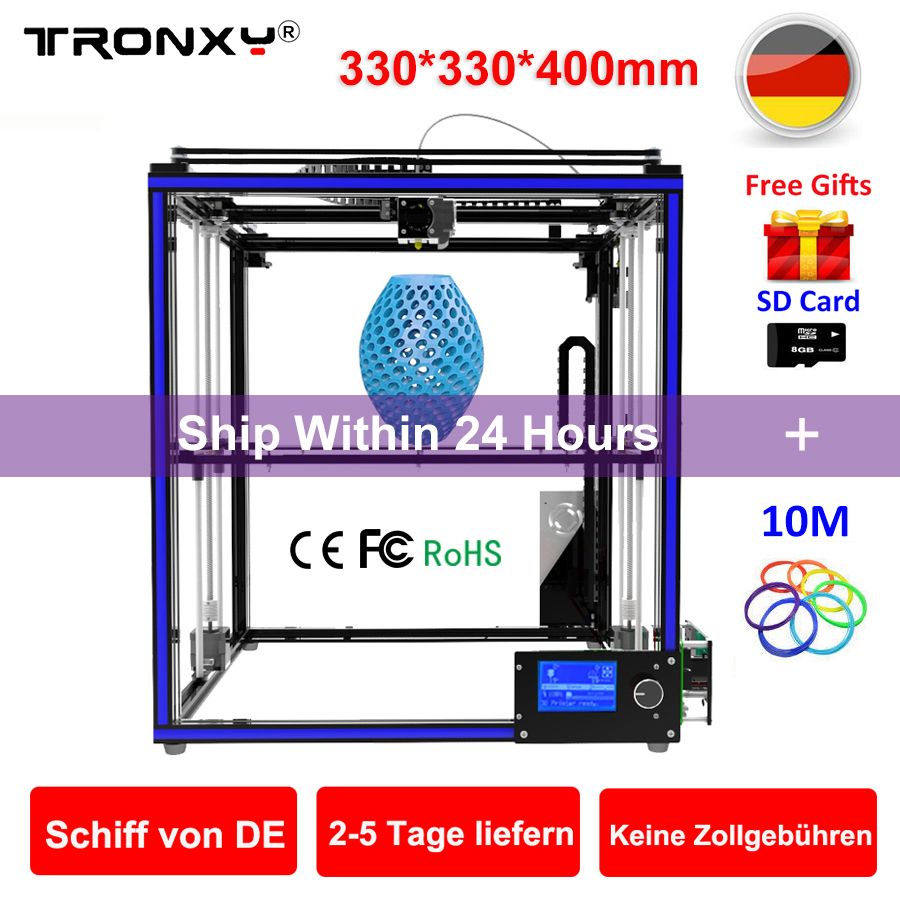 Upgraded Tronxy 3D Printer X5S Precision Reprap DIY 3D Printer kit SD card Large 3D Printing Size 330*330*400mm 3D Metal Printer