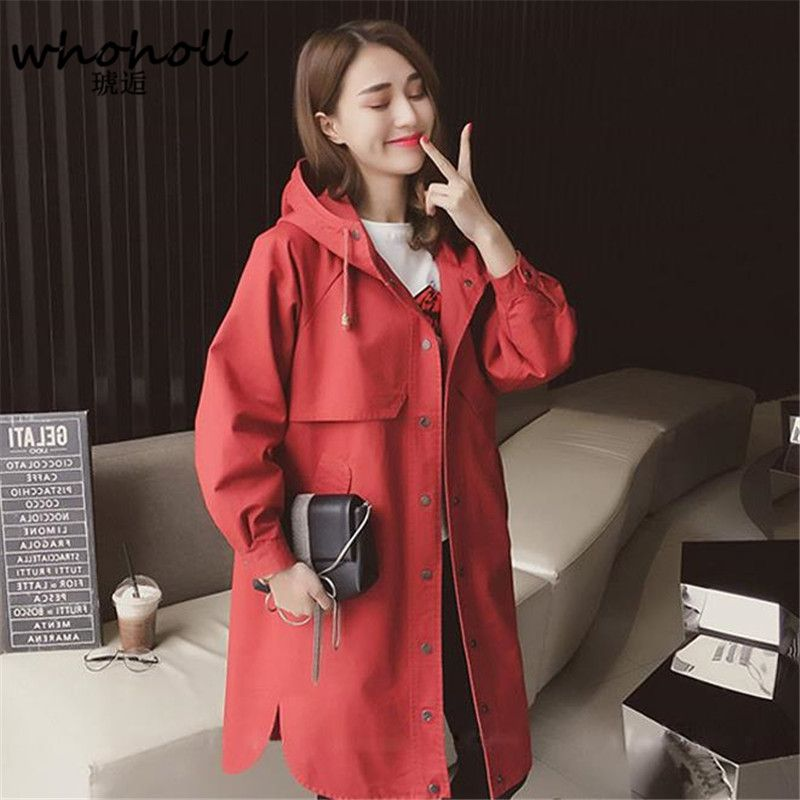 2017 autumn winter outfit women trench loose coat, female lady hooded long windbreaker Trench Coat Raincoat Business Outerwear