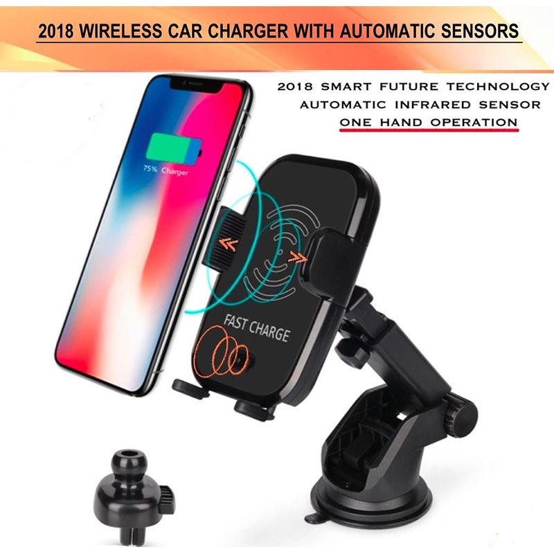 Car Mount Qi Wireless Fast Charger Charging Automatic Infrared Sensor Phone Holder For iPhone X 8 Plus Samsung S9 S8 Note 8