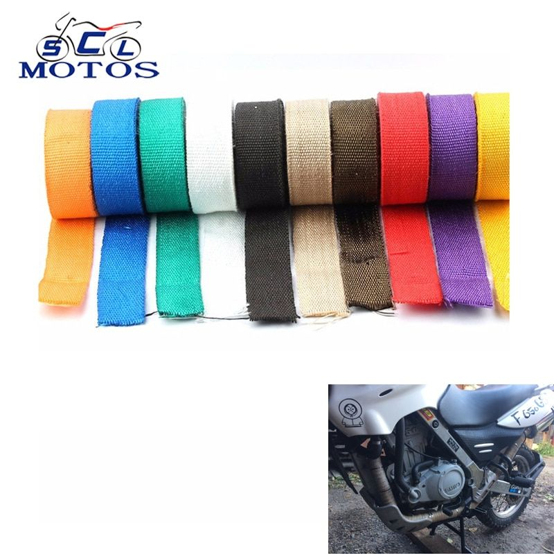 Sclmotos -5m Motorcycle Exhaust Pipe Wrap Bandage Header Heat Wrap Tape Resistant Downpipe 5mx5cm for Car Motorcycle
