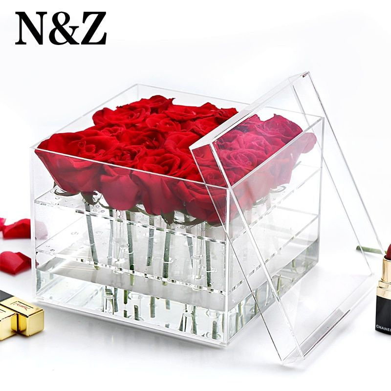 New arrival acrylic <font><b>rose</b></font> box flower holder eyebrow pencil storage makeup organizer with lid keep flower alive for more time