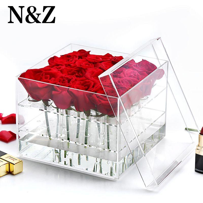 Nouvelle arrivée acrylique rose boîte fleur porte-crayon à sourcils de maquillage de stockage organisateur avec couvercle garder fleur en vie pour plus de temps