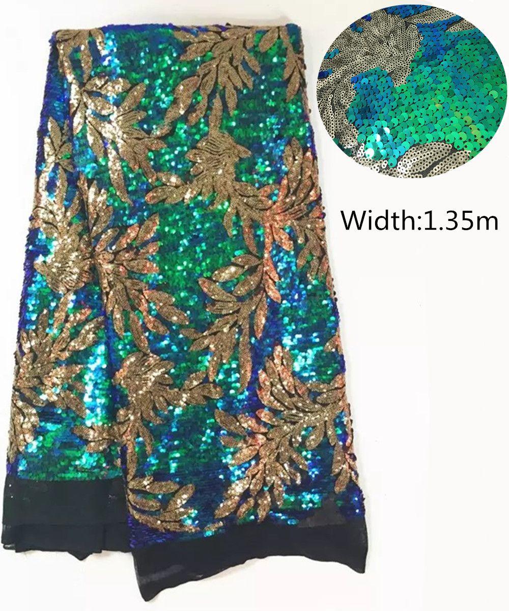 L-PL101 Nouveau Français Nigérian paillettes net dentelle, de tulle Africain maille Séquence dentelle tissu de haute qualité pour la robe de mariage 5 mètres/lot