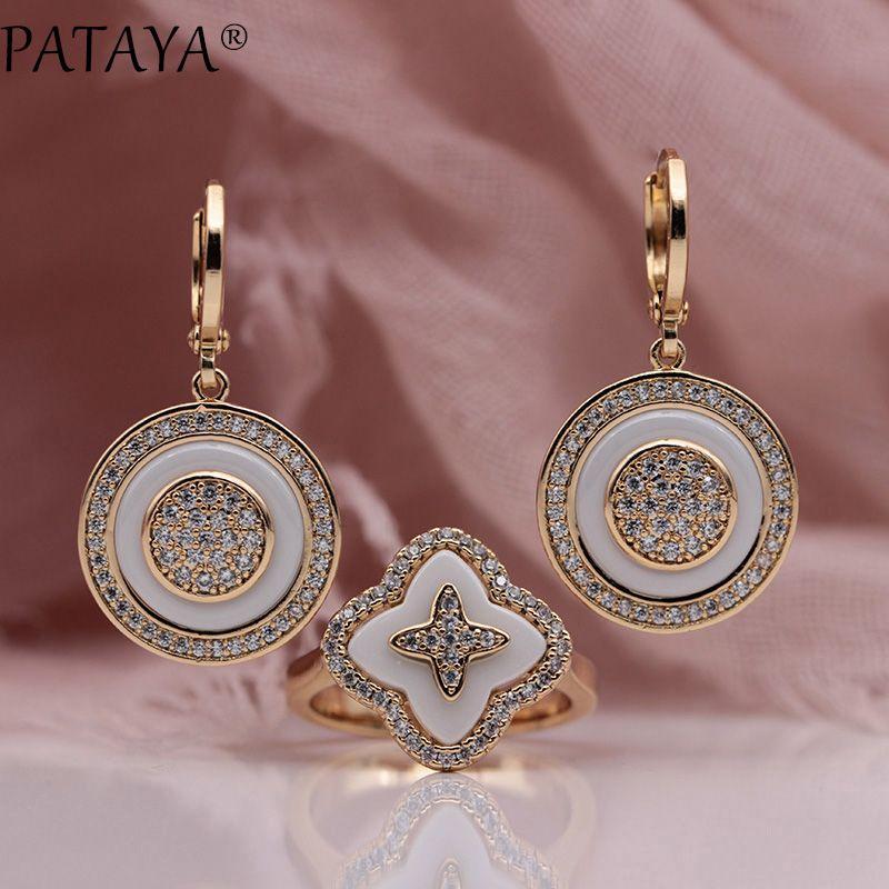 PATAYA New 585 Rose Gold Natural Zircon White Ceramic Long Dangle Earrings Four Petals Rings Sets Women Wedding Luxury Jewelry