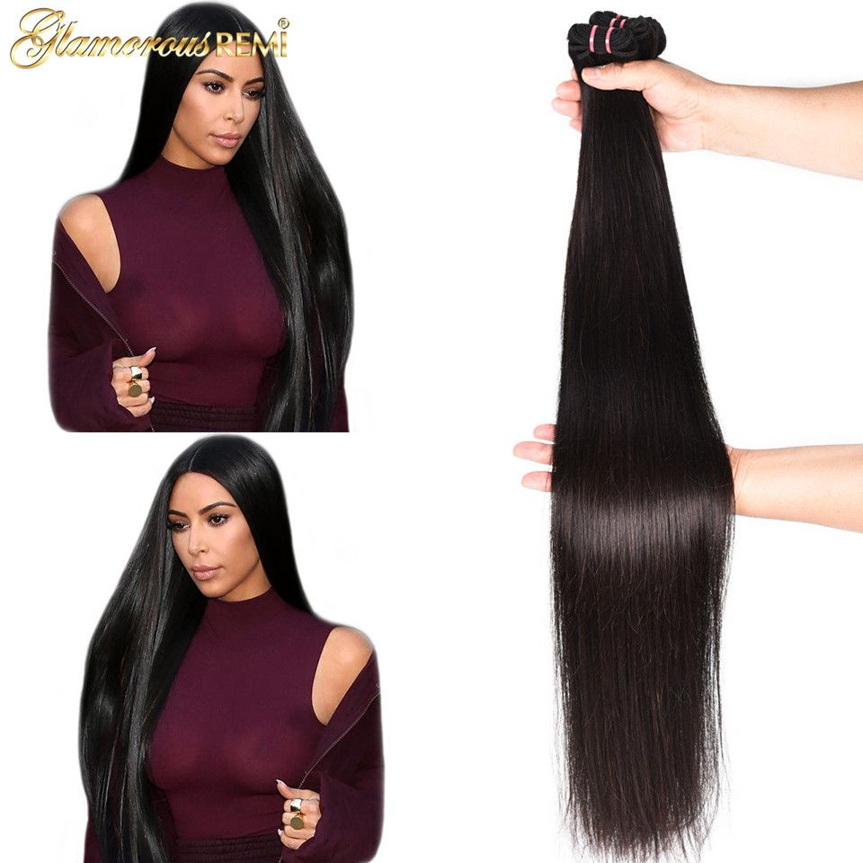 Long length Indian straight remy human hair weave bundles 1 piece deal 26-40 Inches natural Black Color hair extension On Sale