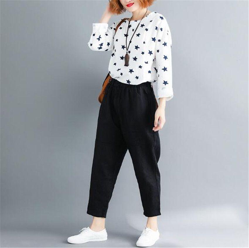 MLCRIYG 2018 Autumn winter New pattern Korean leisure flax waist Haren trousers POR-K MAMA