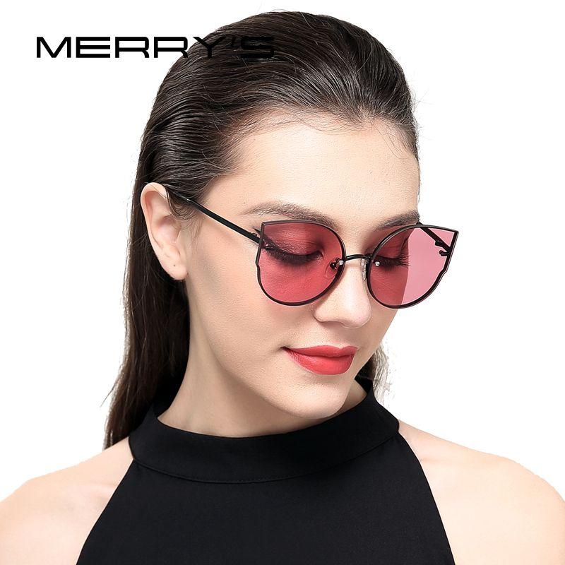 MERRY'S 2017 New <font><b>Arrival</b></font> Women Classic Brand Designer Cat Eye Sunglasses Rimless Metal Frame Sun Glasses S'8099
