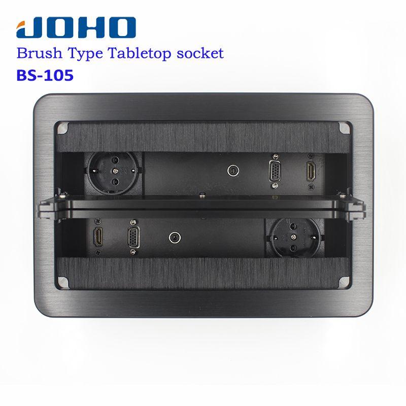 JOHO Desktop Socket Aluminum Black Silver Panel EU Standard Open Type Table Socket Electrical Outlet With VGA HDMI Audio Port