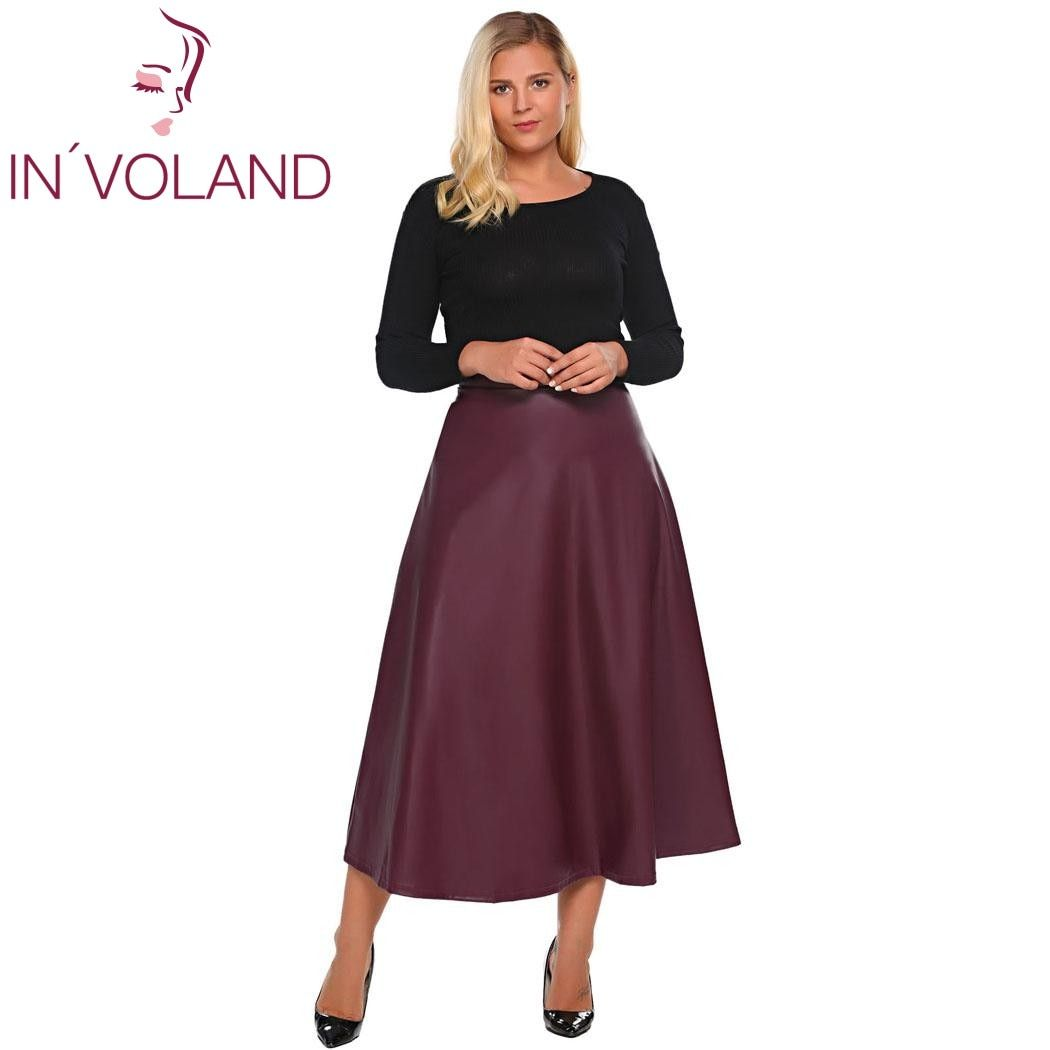 IN'VOLAND Women Leather Skirt Maxi Plus Size 5XL Autumn Winter High Waist Flared A-Line Party Long Skirt Jupe Skater Oversized