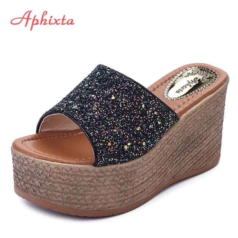 Aphixta été chaussons compensés plate-forme talons hauts femmes pantoufle dames à l'extérieur chaussures de base sabot Wedge pantoufle tongs sandales