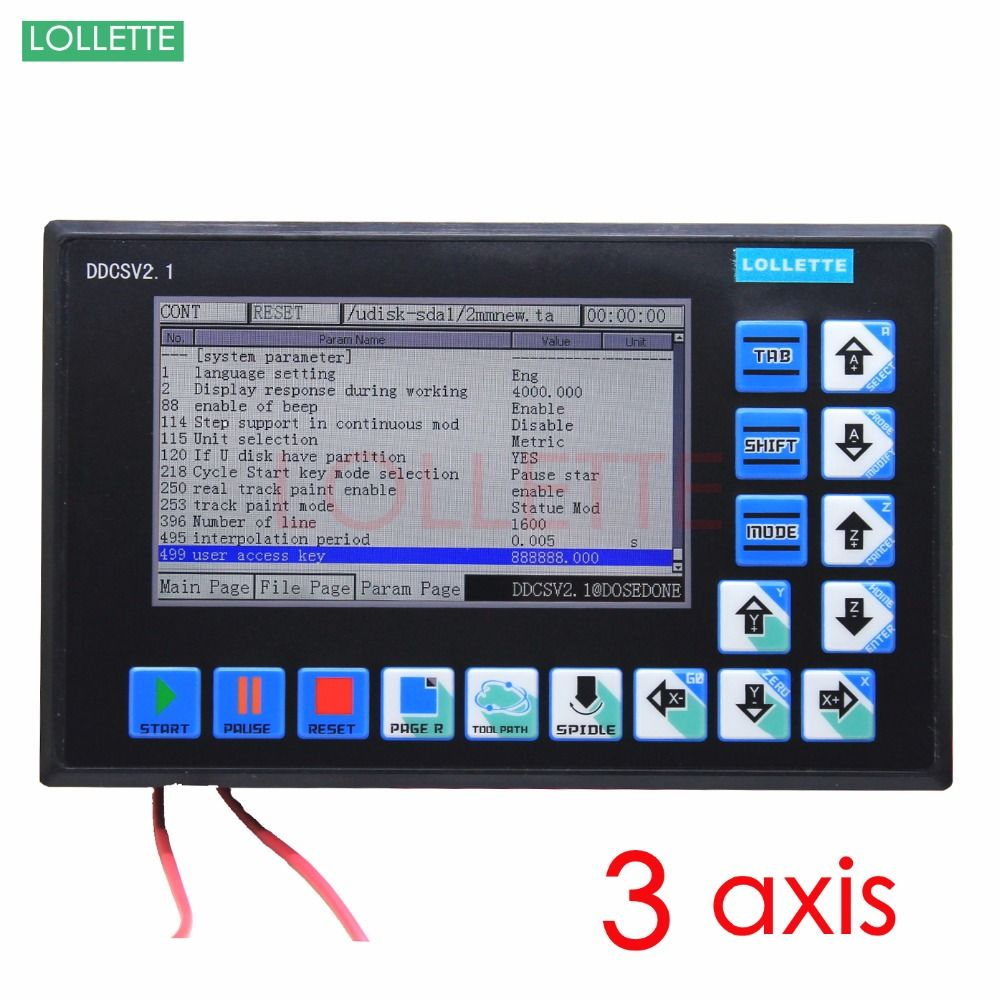 DDCSV2.1 500KHz CNC 3 Axis Engraving Machine Controller Motion Control System G Code Stepper Motor Driver milling/ lathe/ drill