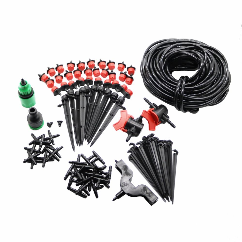Garden Irrigation Set 108 Pcs 20m 4 / 7mm Hose DIY Gardening Sprinkler Head Hose Bracket <font><b>Fast</b></font> Interface Hole Puncher Plug Tee