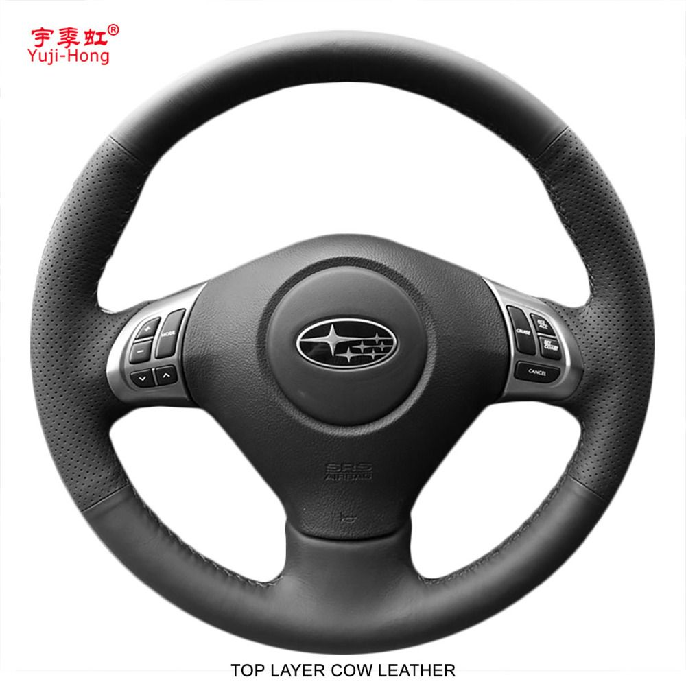 Yuji-Hong Car Steering Covers Case for Subaru Forester 2008-2012 Genuine Leather Hand-stitched Top Layer Cow Leather Cover