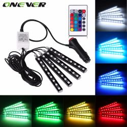 4pcs Car RGB LED Strip Light  LED Strip Lights 16 Colors Car Styling Decorative Atmosphere Lamps Car Interior Light With Remote