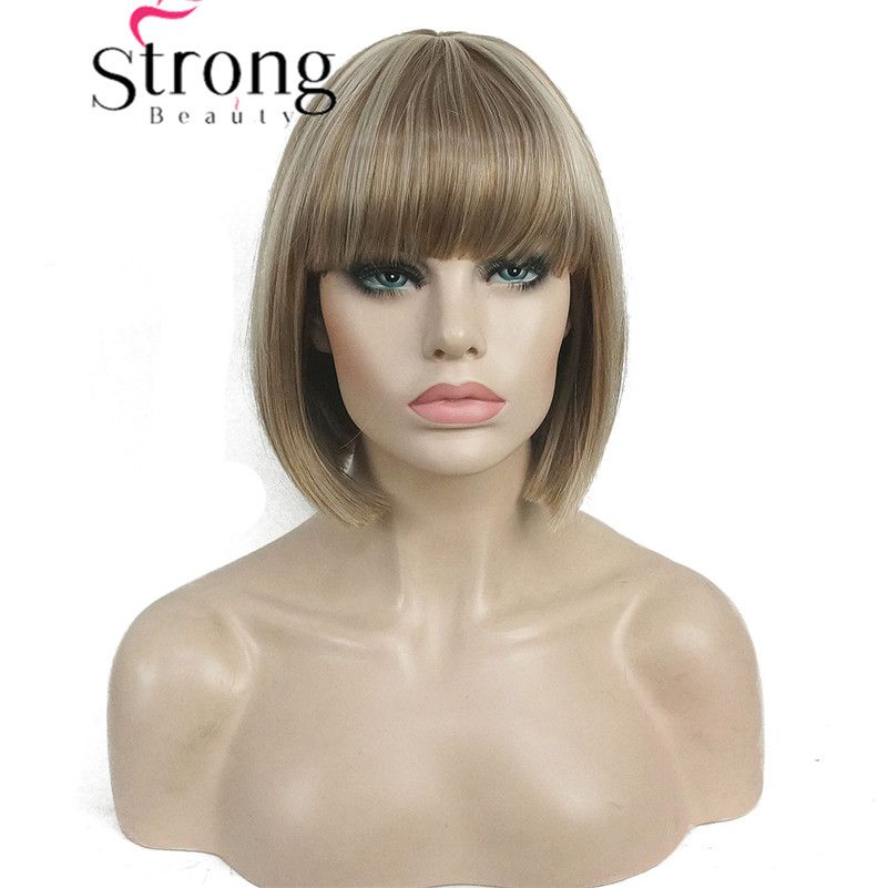 StrongBeauty Short Bob Wig Point Part Bangs Full synthetic Wigs COLOUR CHOICES